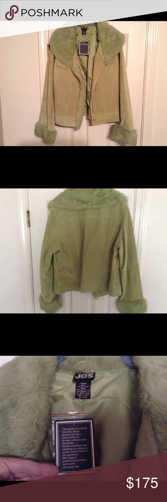 Green Leather Jacket With Fur Trim, NWT , Size L This Is A Gorgeous Green 100% Genuine  Leather and Polyester Lining That's New Never Worn ! In Excellent Undamaged Condition! Beautiful And Will Be Dry Cleaned Before mailing out! Thanks! JDS Jackets & Coats