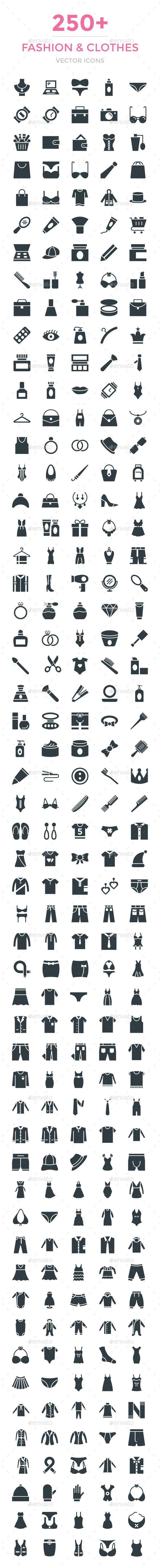 250+ Fashion and Clothes Vector Icon. Download here: https://graphicriver.net/item/250-fashion-and-clothes-vector-icon/16916694?ref=ksioks