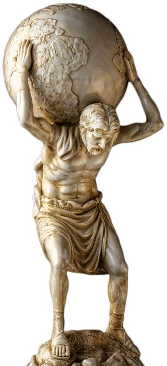 Die Atlasstatue symbolisiert die Beschwerden, die ein verschobener Atlas verursacht