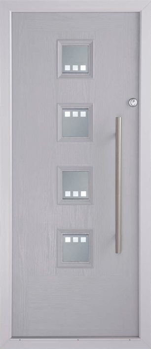 Jazz your entrance up a little with a door just like this Contemporary Oslo C. Shown in White.