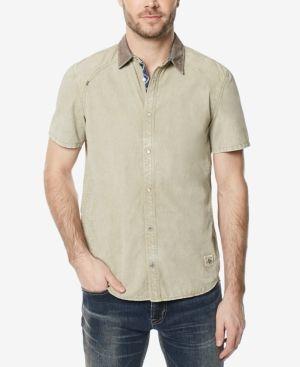 Buffalo David Bitton Men's Top-Stitched Contrast-Trim Shirt - Gray XL