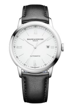 Discover the Classima 10332 affordable automatic watch for men with black calfskin strap, designed by Baume & Mercier, manufacturer of Swiss watches.