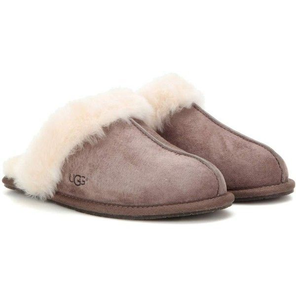 UGG Australia Scuffette II Shearling-Lined Suede Slippers (7.255 RUB) ❤ liked on Polyvore featuring shoes, slippers and brown