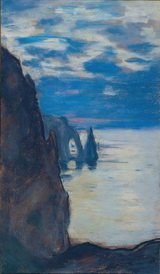 "Monet - ""Étretat, the Needle Rock and Porte d'Aval"" , c. 1885, pastel on tan paper 400x235cm, private collection"