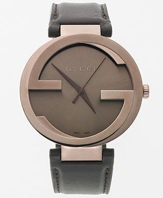 Gucci Watch, Women's Swiss Interlocking Brown Leather Strap 42mm YA133207