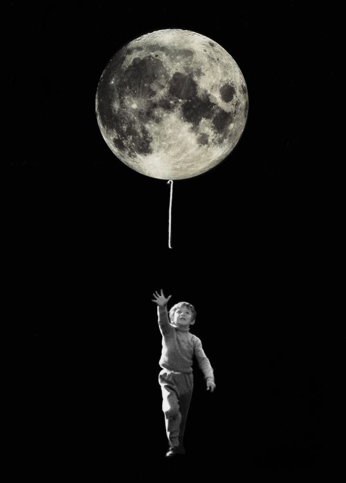 Boy looks to be chasing balloon, but the 'balloon' is actually the moon, and it is titled 'Small Steps' relating to the landings on the moon.