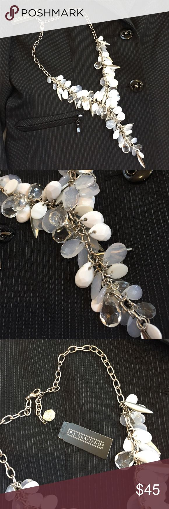 """NWT R.J. Graziano necklace This is a gorgeous NWT R.J. Graziano necklace. It is silver toned with white and clear beads. The length is adjustable and the longest length is approximately 21"""". R.J. Graziano Jewelry Necklaces"""
