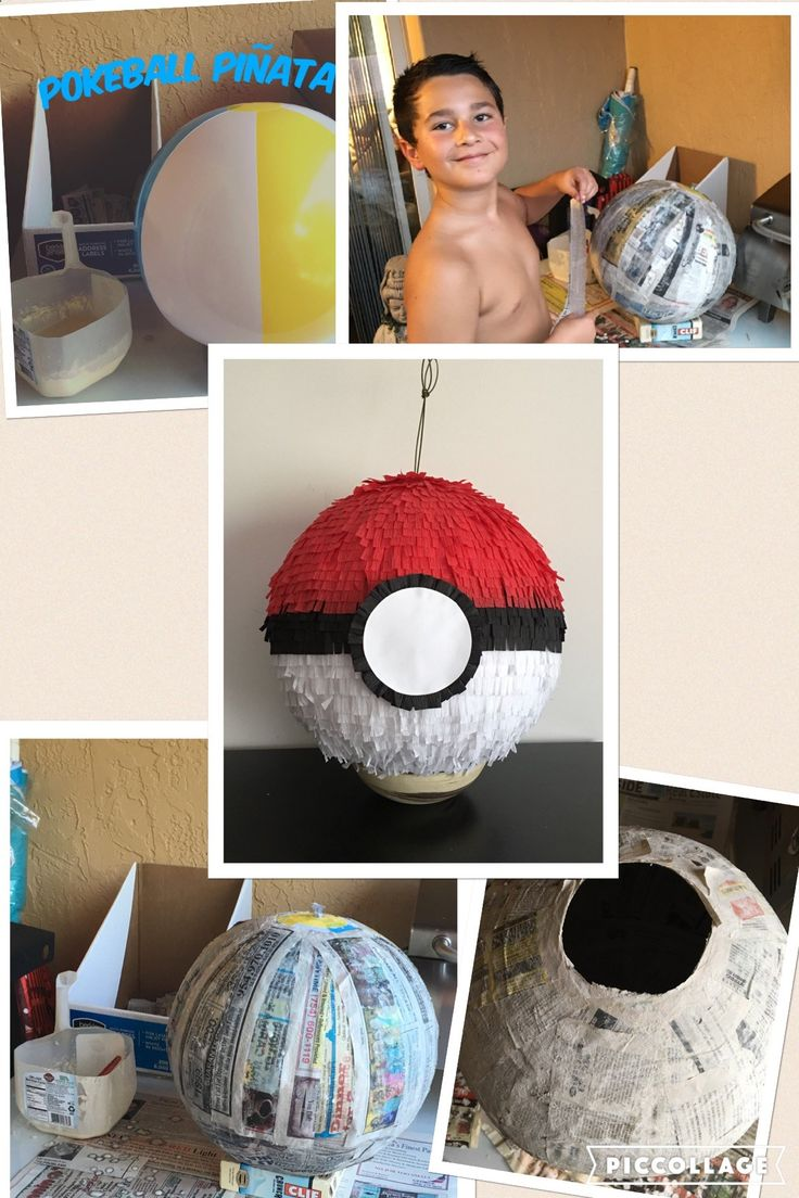 How to make a Pokeball Piñata for a Pokemon birthday party. How said piñatas are only fun for the kids? My son and I had a lot of fun during the piñata making. It was very simple to make (the paper machê I used was 1 part of white flour to 1 part of water) and durable. After watching a few videos on YouTube we decided to make 6 layers of paper. I feel that it was a good amount to outlast 10 year old boys hit.
