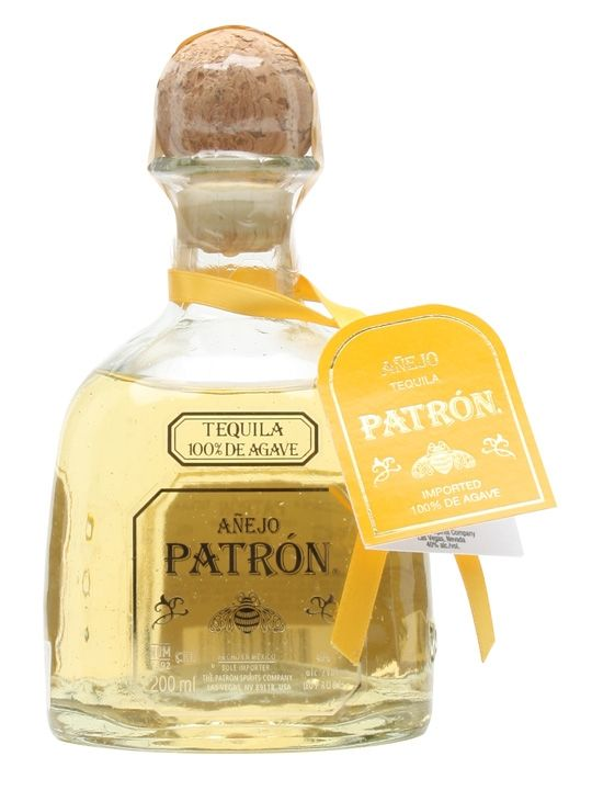 A 20cl bottle of Paton's Anejo Tequila.  A quality tequila from the well-known Patron brand, this super-premium anejo has made a big hit in top-end bars across the UK.