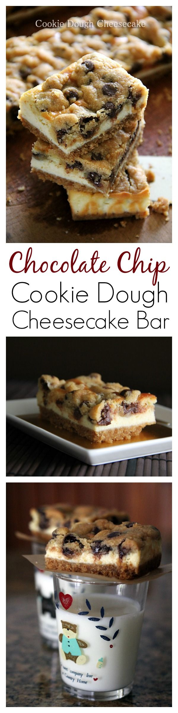 Chocolate Chip Cookie Dough Cheesecake Bar recipe, the BEST cheesecake bar EVER | Dessert recipes like this make you want to lick the screen!