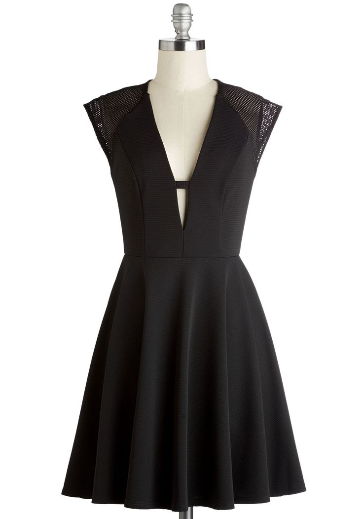 No Time Like Wow Dress - Black, Solid, Girls Night Out, A-line, Cap Sleeves, Woven, Good, V Neck, Mid-length