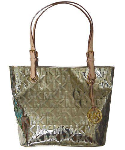 Michael Kors MK Mirror Metallic Item MD Tote Shoulder Bag Handbag Purse -  Gold
