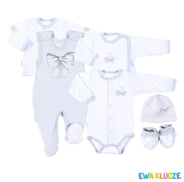 EWA KLUCZE, kolekcja CLASSIC BABY, szary komplet dla dziewczynki, ubranka dla dzieci, EWA KLUCZE, CLASSIC BABY collection, grey baby girl set, baby clothes