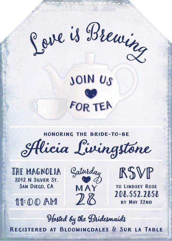 Love is Brewing Tea Party Themed Bridal Shower Invitations - Unique Tea Bag Shaped Design - Free Custom Colors! High Tea Navy Blue - Customized Sets with Envelopes included start at just $38.00