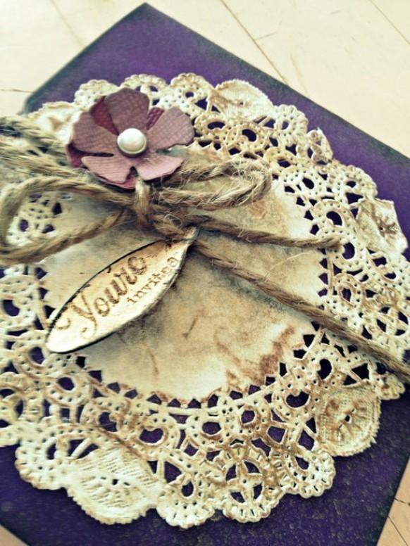 vintage handmade wedding invitation  with doily