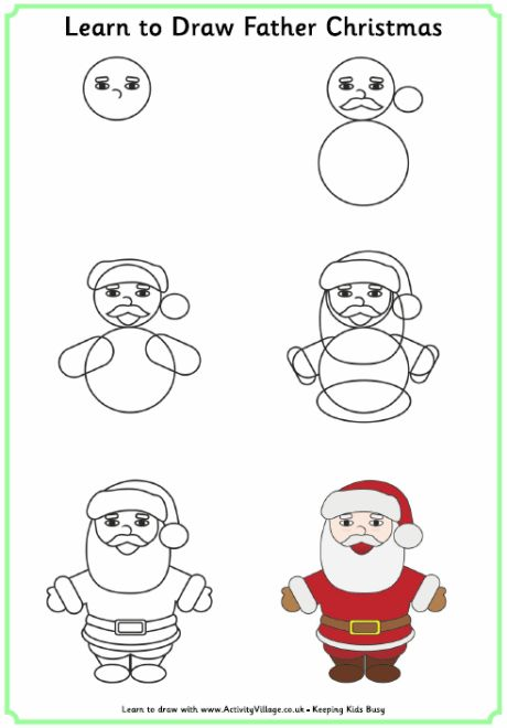 Learn to draw father christmas or santa