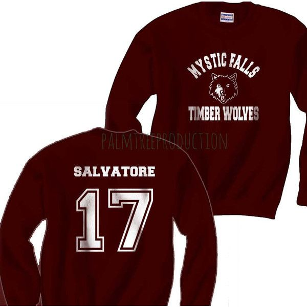 Salvatore 17 Mystic Falls The Vampire Diaries Unisex Crewneck... ($28) ❤ liked on Polyvore featuring tops, hoodies, sweatshirts, crew neck tops, sport sweatshirts, red sweatshirt, crew-neck sweatshirts and sweat tops