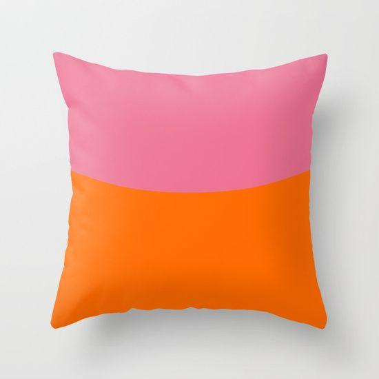Pink Sky and Orange Field Throw Pillow by Bravely Optimistic | Society6