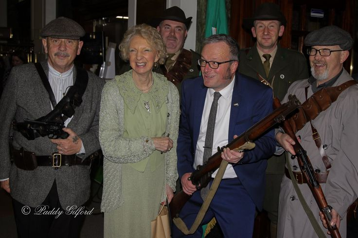 Meda Ryan and Lorcan Collins pose with some 1916 renactors in the GPO at the launch of their books.  Image taken by Paddy Gifford.