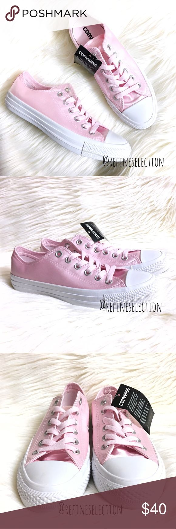 Converse Ox Satin Arctic Pink and White Sneakers Brand new with tags, in its original box, Women's size 7. Retails for $65! These Converse Ox Satin Arctic Pink and White Sneakers are so cute and sweet! Love the feminine satin pink with matching pink shoelaces. Has silver shoelace eyelets for durability. These low top sneakers add the perfect pop of color to your outfit! White sole. Converse Shoes Sneakers