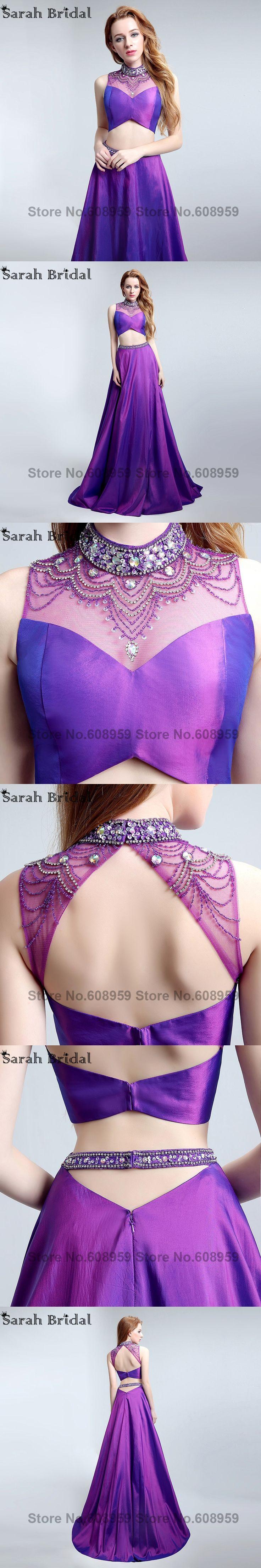 2017 Sheer High Neck Two Pieces Prom Dresses Purple Cut Back Taffeta Formal Dress Party Crystal Beads Vestidos De Noche LSX149
