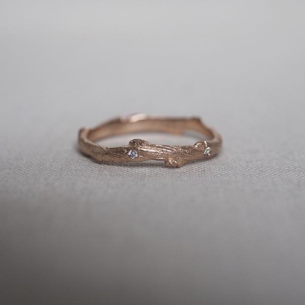 Solid Rose Gold Hawthorn Twig Diamond Ring