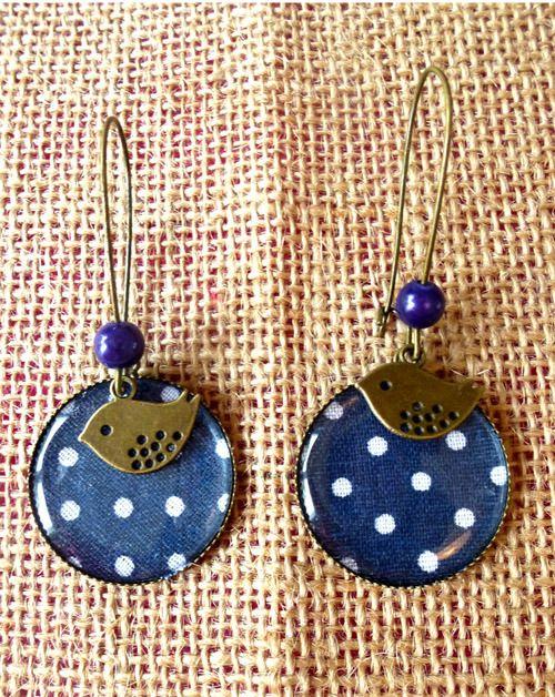 Grandes boucles d'oreille bleu à pois blancs : Boucles d'oreille par crocmyys