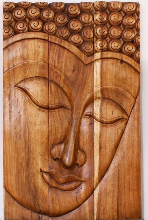 Buddha serene 30 x 47 walnut oil finish han carved monkey pod wood wood wall decorwooden