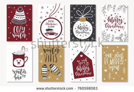 Set of creative 8 journaling cards. Christmas Posters set. Vector illustration. Template for Greeting Scrapbooking, Congratulations, Invitations, Stickers, Planners. Scandinavian style.