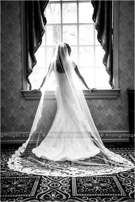 Beautiful black and white bridal portrait. Monique Lhuillier wedding dress. #bride #dress #wedding #photography