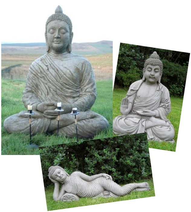Discount Garden Statues   3 Buddha Set With Very Large Serene Buddha Plus  Reclining