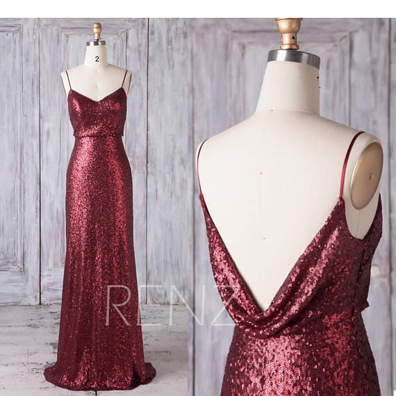 cee45bbac134f Bridesmaid Dress Maroon Sequin Dress,Spaghetti Strap Maxi Dress,Cowl Open  Back Party Dress,V Neck Fitted Evening Dress Wedding Dress(LQ436)