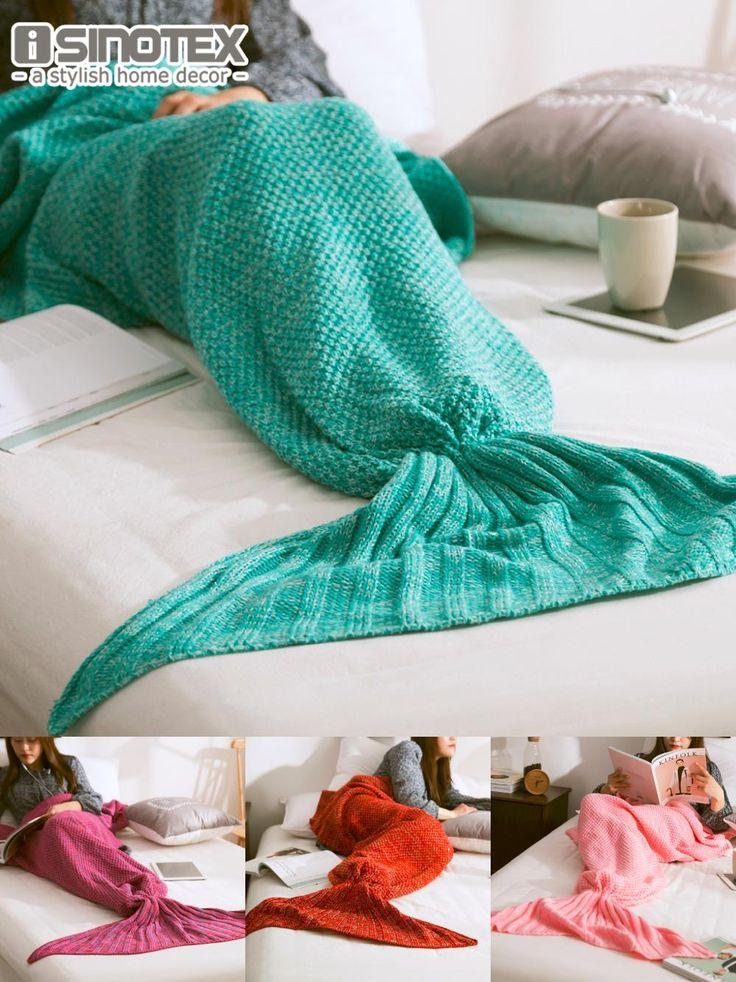 [Visit to Buy] Mermaid Tail Blanket Yarn Knitted Handmade Crochet Mermaid Blanket Kids Throw Bed Wrap Super Soft Sleeping Bed 3 Sizes 1PCS/Lot #Advertisement