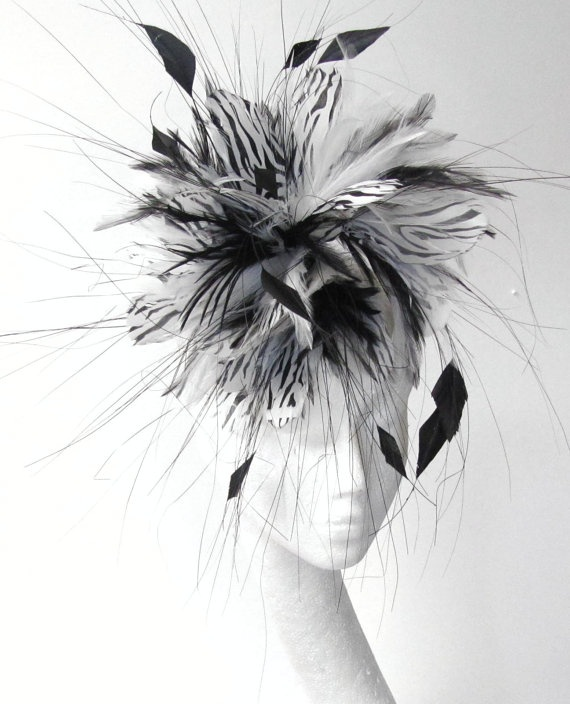 White and Black  fascinator hat by Hatsbycressida, $100.00