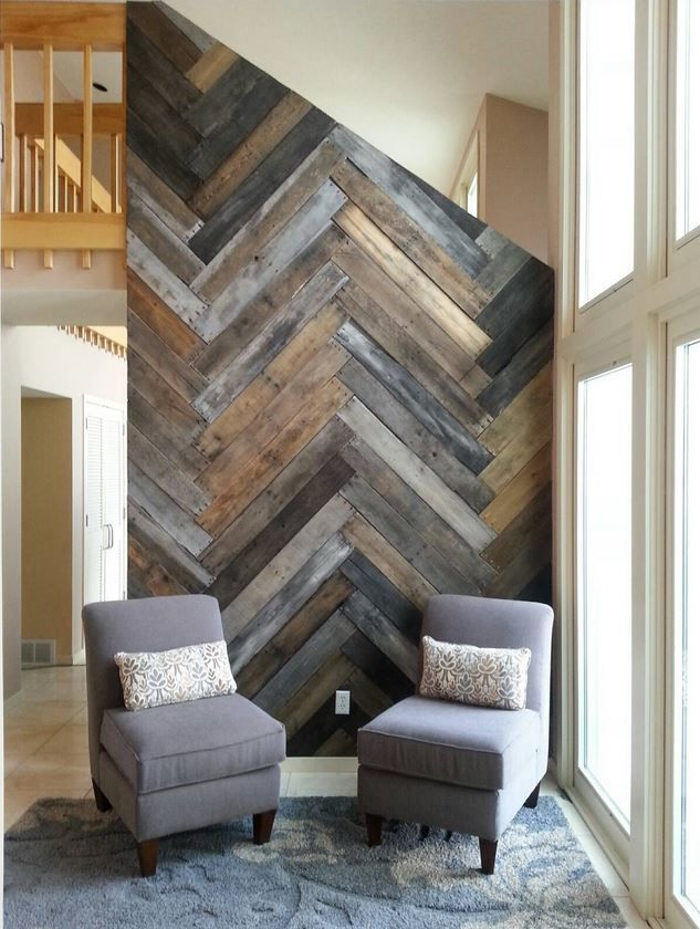 Diy Herringbone Pallet Wall Stain Colors Dark Walnut Weathered Oak And Driftwood By De Uglied Designs Pallet Accent Wall Diy Pallet Wall Pallet Wall