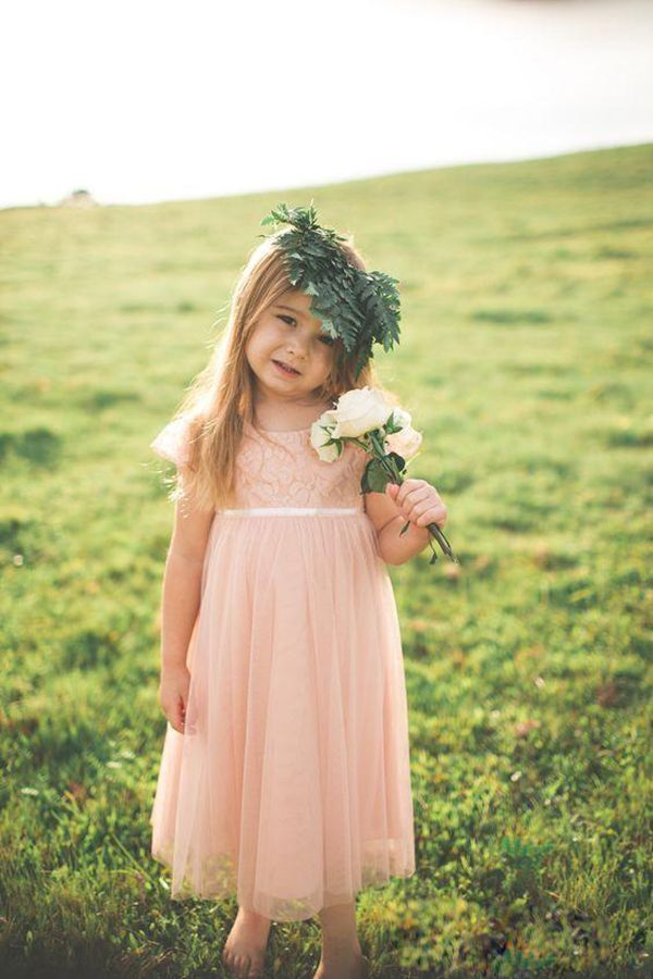 Country Style 2016 Blush Pink Lace Chiffon Toddler Flower Girls Dresses For Weddings Cheap Short Sleeve Tea Length Formal Communion Gowns