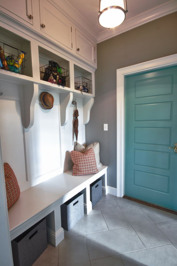 mudroom with turquoise door | House of Turquoise: Karista Hannah and Lauren Harp