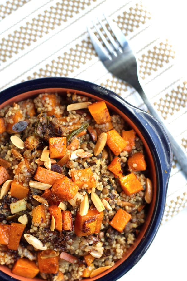 Roasted butternut squash with lentils and quinoa. The finest fall salad or small plate! Packed with flavors from roasted radicchio, green onions, garlic and warm earthy spices like cumin and cinnamon. Delicious! Vegan.