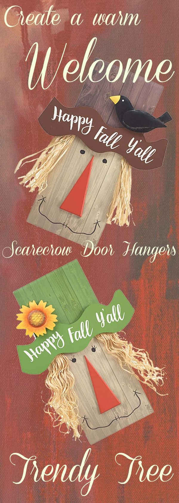 Wood plank scarecrow door hangers from Burton & Burton. New for 2017 and available now at Trendy Tree! http://www.trendytree.com #TrendyTree #scarecrow