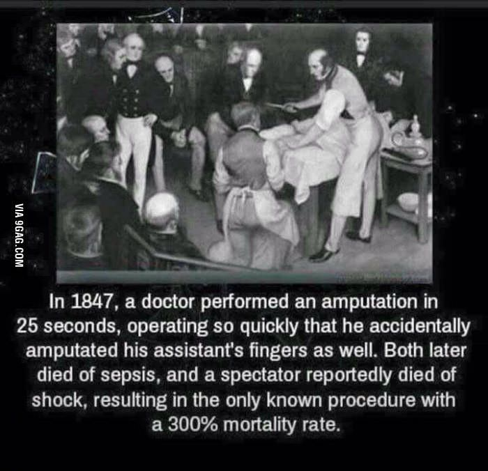 Robert Liston (1794 – 1847), in case anyone is wondering. This is true. He amputated a leg so fast that he removed the patients testicles in his enthusiasm as well.