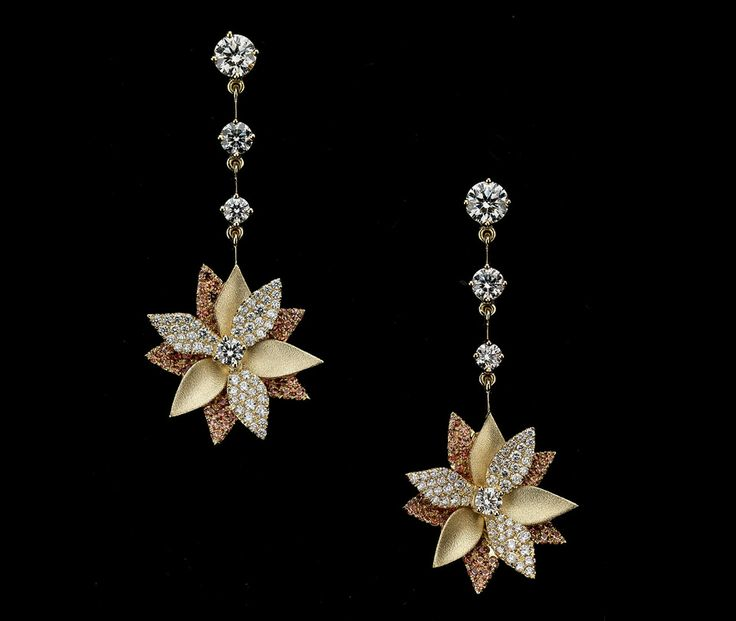 Lotus flower earrings orange sapphire and diamond