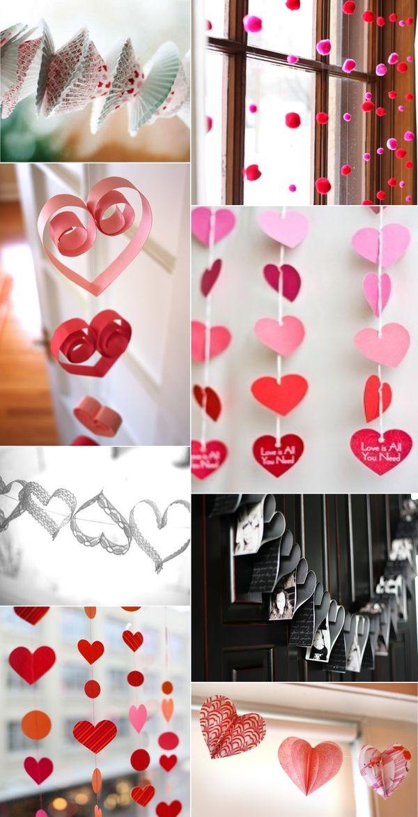 #ValentinesDay #Decor Cute homemade heart garland ideas! #HOME