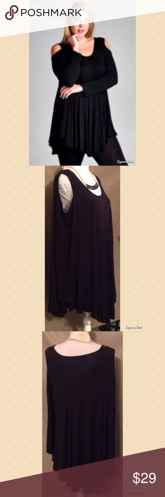 Sexy Black Cold Shoulder Top Fall in love with this cold shoulder top! Size: 2X ; 95% Rayon and 5% Spandex. Tops