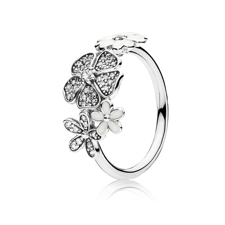 This eye-catching design is made up of several of the most popular PANDORA flowers, forming one shimmering bouquet. With its delicately crafted and stone-studded blooms, it will make a glamorous impact whatever the occasion. #PANDORAring