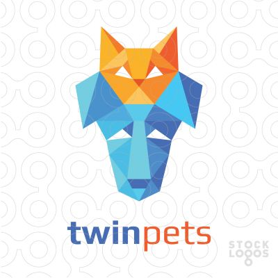 Logo design of an abstract low poly orange cat head and blue dog head. Related keywords: doggie, feline, canine, kitty, kitten, pets, puppy, low poly.