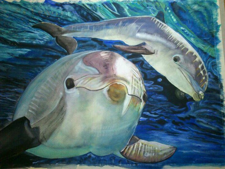 acuarela delfines al agua