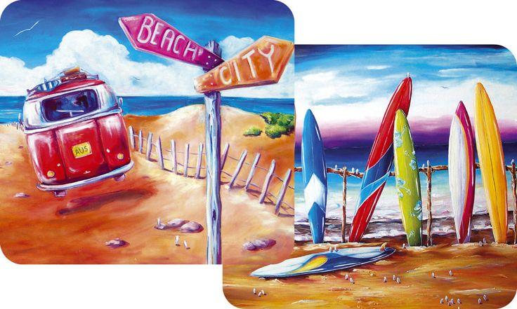VW Kombi City Beach w/ surfboard Ocean design - set of 2 drink coasters