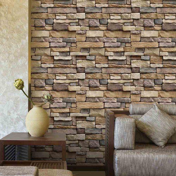 Stone Wallpaper 3d Effect Blocks Yellow Brick Peel And Stick Wallpaper 17 7 X 393 Walmart Com In 2021 Wall Stickers Brick Brick Wall Decor Brick Wall Wallpaper