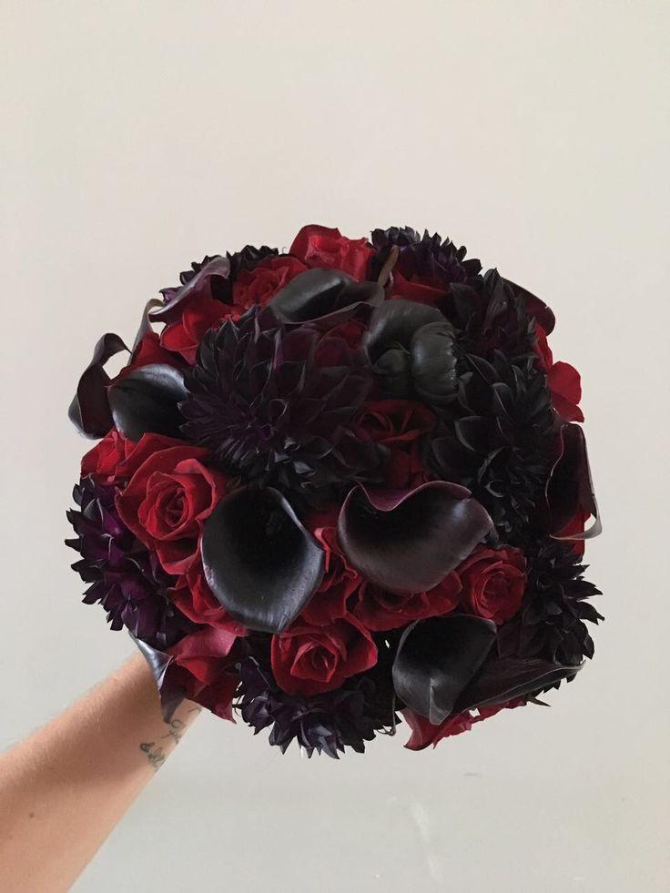 CBR432 wedding Riviera maya black and red flowers bouquet / ramo flores negras y rojas