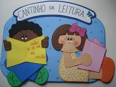 Plaquinha confeccionada em EVA para identificar o cantinho de leitura de sua sala de aula.    Podem haver alterações nas cores do produto. R$ 25,00